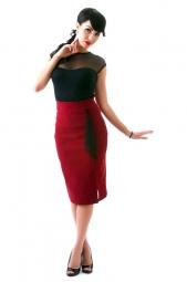 Ruffle Sarina Skirt Ruby