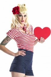 Striped Pussy Bow Top Red
